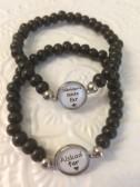 Armband med budskap till pappa/far - svart (UJ)