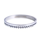 Gemini Armband i rostfritt stål, vita stenar
