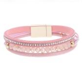 Gemini Armband med 3 remmar, rosa med strass och pärlor