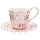 GreenGate kopp med fat, Marley pale pink