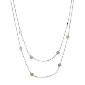 Gemini Halsband, Silverpläterat med små plattor - dubbel länk (kort)