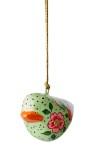 ..Fågel att hänga papier maché (Nora), grön m blommor