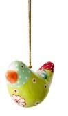 ..Fågel att hänga papier maché (Nora), oliv grön