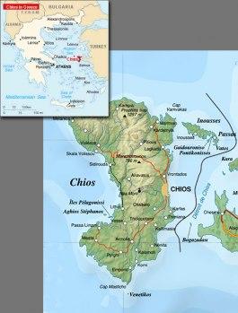 Karta över Chios