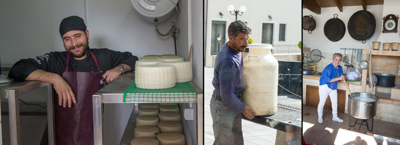Our nice chef from the hotel demonstrated his way of making cheese. In the middle: The sheep farmers who delivered milk from his sheep. Right: Fariba may try to stir in the milk during warming.