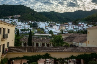 View from the hotel toward the town, Benahavis.