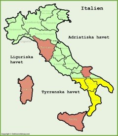 Italien. de röda områdena finns beskrivna i egna kapitel, Toscana, Gargano, Sardinien och Sicilien. Den södra delen (gul) har jag inte besökt.
