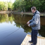 Mikael Jormelius drillar fisk