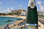 Arrival board at Maho Beach, Sint Maarten