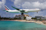 Air France Airbus A340-300 on final approach over Maho Beach, Sint Maarten