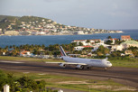 Air France Airbus A340-300 about to line up for departure at Princess Juliana Airport, Sint Maarten