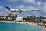 Insel Air McDonnell Douglas MD80 on final approach over Maho Beach to Princess Juliana Airport, Sint Maarten