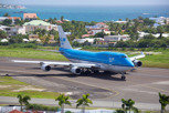 KLM Boeing 747-400 lining up for departure at Princess Juliana Airport, Sint Maarten
