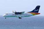 LIAT Carribean Airlines ATR 42 on approach to Princess Juliana Airport, Sint Maarten