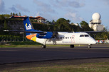 LIAT Carribean Airlines De Havilland Dash 8 lining up at Princess Juliana Airport, Sint Maarten