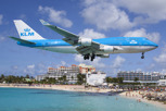 KLM Boeing 747-400  on final approach over Maho Beach, Sint Maarten