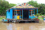 Colorful house in the floating village at Chong Kneas, Tonlé Sap Lake