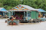 House moving in the floating village at Chong Kneas, Tonlé Sap Lake