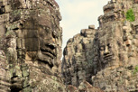 Enigmatic stone face at the Bayon Temple, Angkor Thom