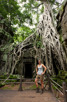 Lara Croft at the Tomb Raider tree, Ta Prohm