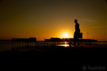 The statue of Henrik Larsson at sunset, Helsingborg