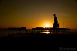 The statue of Henrik Larsson at sunset, Helsingborg