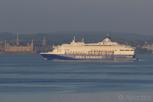 DFDS Seaways ferry passing by Kronborg Castle, Helsingborg