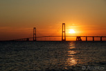 The Great Belt Bridge between Funen and Zealand at sunset