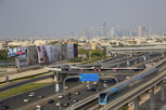 Dubai Metro with the skyline as backdrop