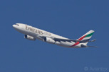 Emirates Airbus A330-200 climbs away after departure from Dubai International