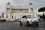 Modern Fiat with Vittorio Emanuele II as backdrop, Rome