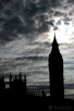 Big Ben silhouette under threathening skies, London