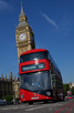 Modern double decker in front of Big Ben, London