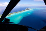 Helicopter view of the lagoon and resorts at Bora Bora