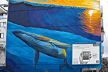 Beautiful street art of a humpback whale in Papeete, Tahiti