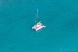 Catamaran in the lagoon of Bora Bora