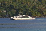 The AIr Tahiti catamaran services to the airport at Bora Bora