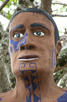 Closeup of the native pineapple man scultpure, Moorea