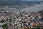 Bergen overview from Fløyen mountain