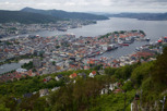 View over Bergen from the Fløyen mountain