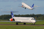 A McDonnell Douglas MD80 taxiing for departure just as a Boeing 737-800 getting airborne at Malmö/Sturup.