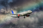 Skapti Viking on final under a rainbow - Airbus A321