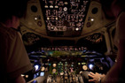 Flight deck of a MD80 during darkness