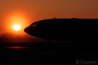 An Airbus A310 during sunrise