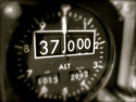 The old style altimeter of a MD80