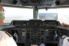 Flight deck of a Fokker 50 on final approach