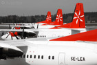 Skyways Fokker 50 lineup at Stockholm/Arlanda