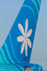 The national flower Tiare Tahiti flower displayed in the Air Tahiti Nui as well, Papeete Faa'a International Airport