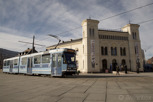 Local tram in front of the Nobel Peace Center building, Oslo