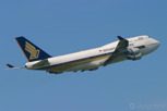 The national carrier, Singapore Airlines with a Boeing 747-400 also known as Megatop